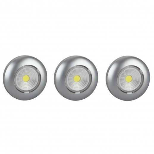 Светодиодный самоклеящийся фонарь-подсветка REV Pushlight 3Pack металлик