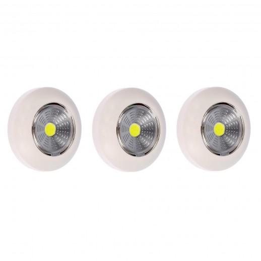 Светодиодный самоклеящийся фонарь-подсветка REV Pushlight 3Pack слоновая кость