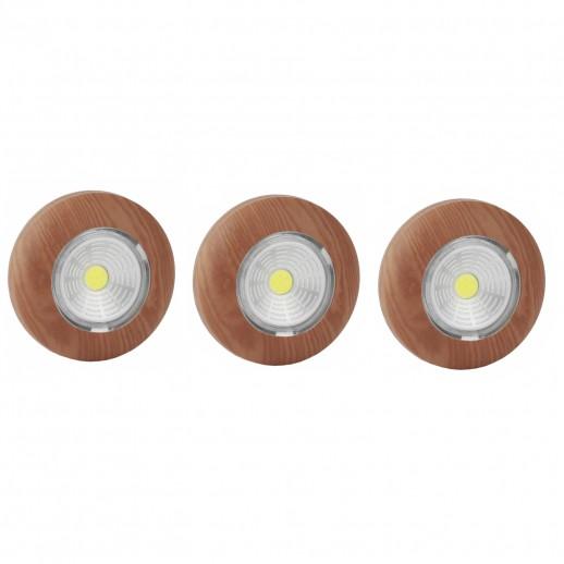 Светодиодный самоклеящийся фонарь-подсветка REV Pushlight 3Pack дерево