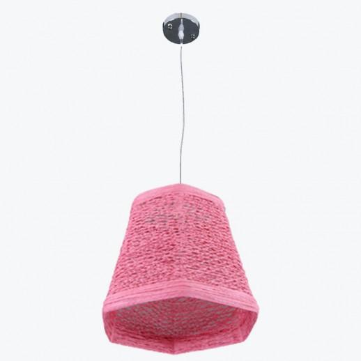 Светильник бытовой потолочный pink, с плетеным абажуром в форме шестигранника