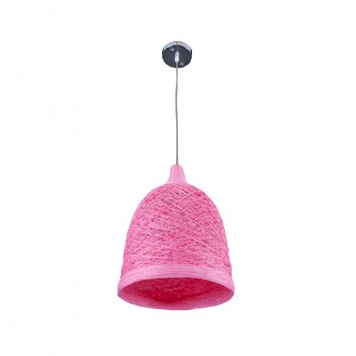 Светильник бытовой потолочный pink, с плетеным абажуром