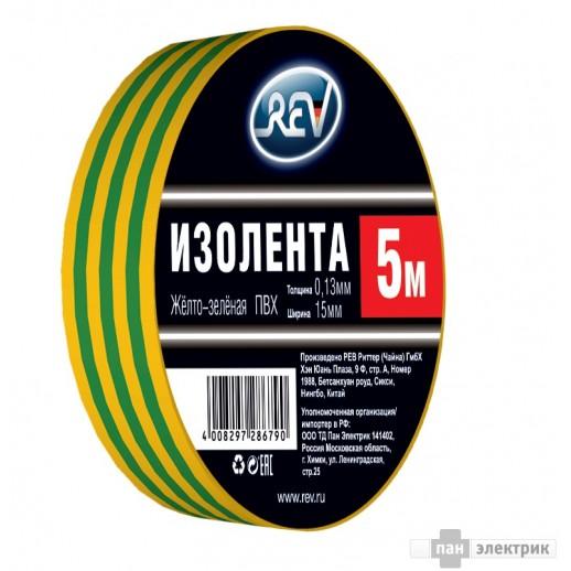Изолента ПВХ 0,13*15мм Желто-Зеленая 5м