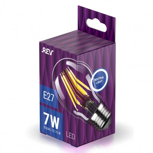 Лампа FILAMENT груша A60 E27 7W, 4000K, DECO Premium холодный свет