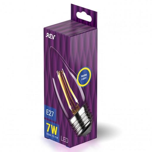 Лампа сд FILAMENT свеча С37 E27 7W, 2700K, DECO Premium, теплый свет, REV
