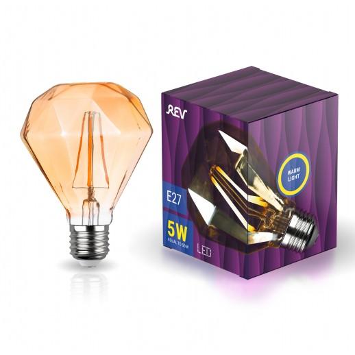 "Лампа сд VINTAGE GOLD Filament колба ""Бриллиант"" E27 5W, 2200K, DECO Premium GOLD, теплый свет"