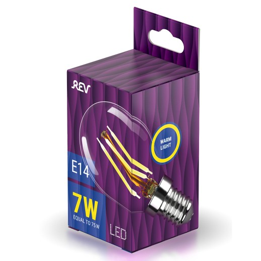 Лампа сд FILAMENT шарик G45 E14 7W, 2700K, DECO Premium, теплый свет