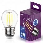 Лампа сд FILAMENT шарик G45 E27 5W, 4000K, DECO Premium, холодный свет, REV