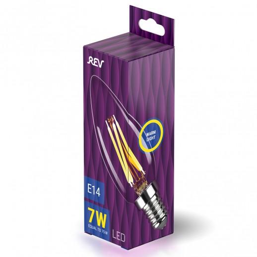 Лампа сд FILAMENT свеча С37 E14 7W, 2700K, DECO Premium, теплый свет, REV