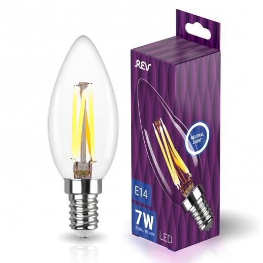 Лампа сд FILAMENT свеча С37 E14 7W, 4000K, DECO Premium, холодный свет, REV