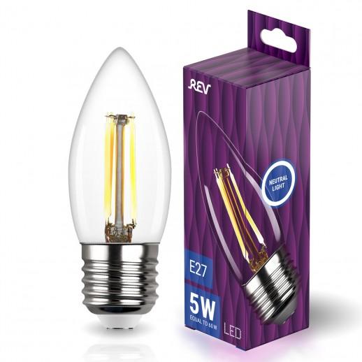 Лампа сд FILAMENT свеча C37 E27 5W, 4000K, DECO Premium, нейтральный свет