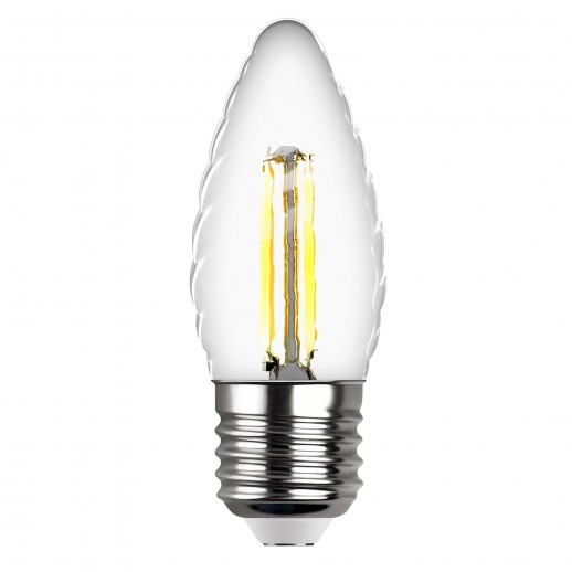 Лампа сд FILAMENT свеча витая TC37 E27 7W, 4000K, DECO Premium, холодный свет, REV