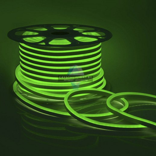 10-84 Светодиодный НЕОН (МИНИ),220В, 6Вт/м,SMD2835,108д/м,IP65,150Лм/м,кат.50м,8*16.5, зеленый