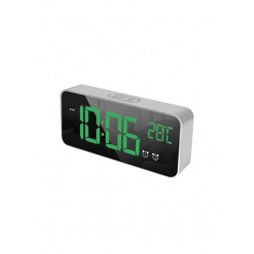 Часы электронные, CL-S80GR, ARTSTYLE, серебристые, со встр. аккум., инд. - зел.