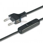 Провод с евроштекером и выключателем черный 2м. H 03 VV-F 2х0,75 мм² 2,5А