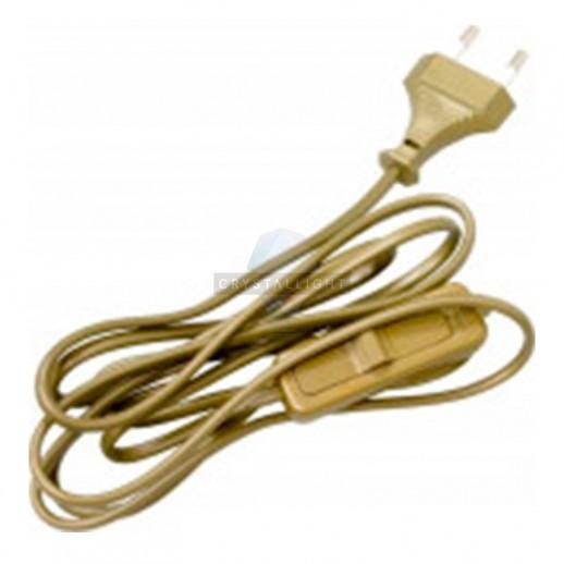 Провод с евроштекером и выключателем золото 1,9м. H 03 VV-F 2х0,75 мм² 2,5А